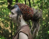 Autumn Dreadlock Headband // Hand-dyed Merino Wool Openwork Hairband