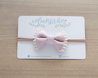 small pom pom bow headbands - newborn headbands - baby bow - baby girl - baby girl headbands - infant headband - baby headband - headbands