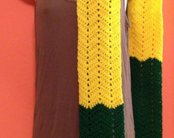 "Vintage Hand Crocheted Scarf - Yellow and Green 76"" long - Mens Womens Kids Unisex"