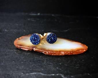 Sapphire Blue Druzy Quartz Stud Earrings / Mini Druzzy Studs / Genuine Drusy / 14k Gold Fill / Sterling Silver / Minimalist Modern
