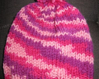 Knit Wool Slouchy Beanie with pompom - toddler to small child - pink and purple swirl
