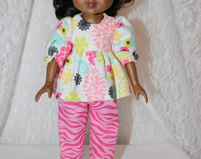 Pajamas, Flower Print Top and pink Pants and Shoes,Handmade to fit the likes of Wellie Wishers/Heart to Heart Dolls, FREE SHIPPING