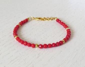 Red coral bracelet, Gold coral bracelet