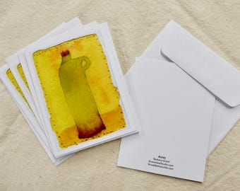 "Set of 6 Notecards of ""Bottle"" image"