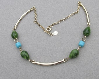 """1970's Vintage Sarah Coventry """"Oriental Mood"""" Faux Jade Necklace"""