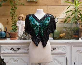 Vintage Butterfly Sequins Black and Green Top