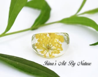Pressed Flower Ring Real Yellow Queen Anne's Lace Green Fern Resin Ring Floral Botanical Nature Jewelry Size 7