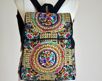 Hmong Hippie Style Backpack Boho Bag Bohemian Bag Book Bag Messenger Bag Texture Trends Ethnic backpack NEP86