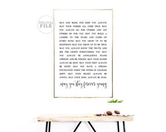 MAY YOU STAY Forever Young - Nursery Decor by Dear Lily Mae - You Print Printable Wall Art (5) Jpegs 24x36/18x24/16x20/11x14/A0