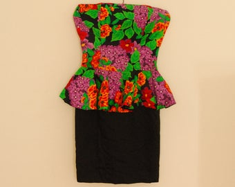 Strapless Floral Print Mini Dress with Peplum - 1980s