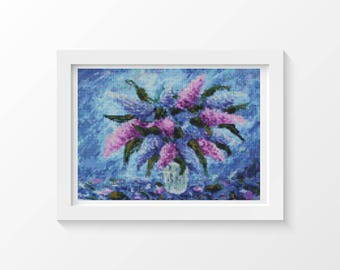 Floral Cross Stitch Chart, Purple Fiesta Cross Stitch Pattern PDF, Art Cross Stitch, Embroidery Chart (ART031)