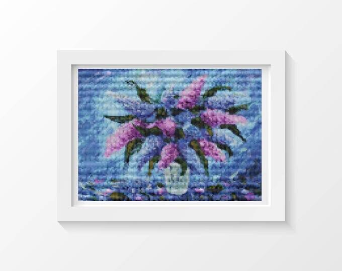 Cross Stitch Pattern PDF, Embroidery Chart, Art Cross Stitch, Floral Cross Stitch, Purple Fiesta (ART031)