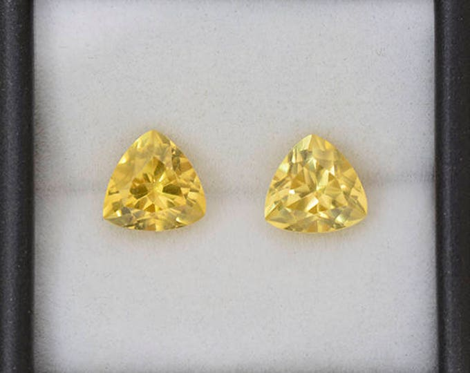 Fantastic Yellow Scheelite Gemstone Match Pair from China 6.65 tcw.