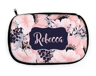 Personalized Makeup Bag - Floral Design | Personalized Custom Makeup Pouch | Cosmetic Bag Bridesmaid Gift |  Zippered Cosmetic Bag Gifts