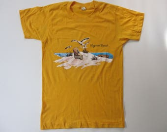 Vintage Yellow Virginia Beach Seagull T Shirt Screen Stars Made in USA Size Small