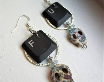 """Recycled + Repurposed """"FU"""" Computer Key + Skull Beaded Dangle Hoop Earrings"""
