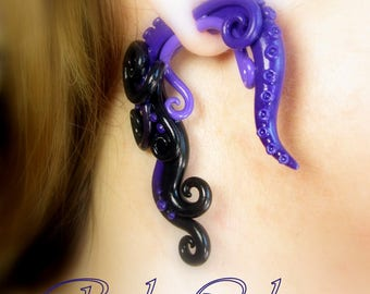 The Ursula Earring Fake ear tentacle gauge - Faux gauge/Gauge earrings/Tentacle plug/tentacle earrings