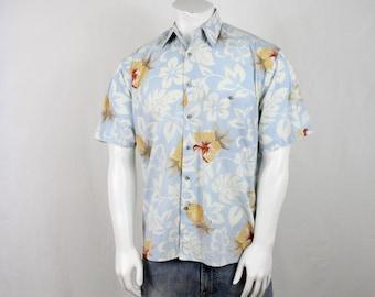 1990s Pierre Cardin Baby Blue Cotton Aloha Shirt M