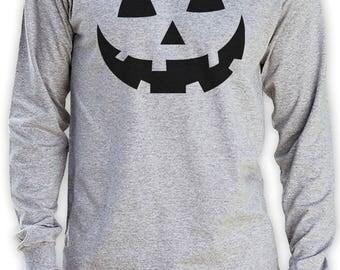 Smiling Pumpkin Face - Easy Halloween Costume Fun Long Sleeve T-Shirt