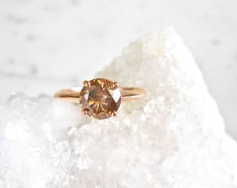 Brown Diamond Ring - Natural Cognac, Handmade Engagement, Rose Gold, Cognac, Knife Edge, Natural Diamond, Conflict Free, Hand Made