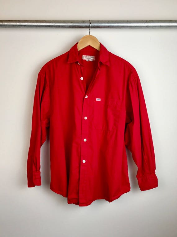 Vintage Men's Guess Jeans Red Shirt