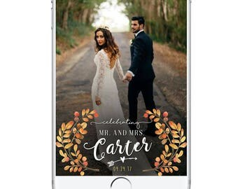 Rustic Fall Wedding Geofilter, Autumn Wedding Snapchat Geofilter, Wedding Snapchat Geofilter Leaves October September November Personal