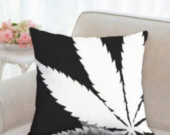 Black and White Weed Pillow