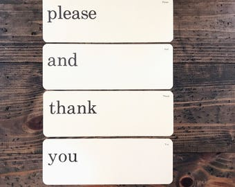 please and thank you • vintage flash card set • Dick and Jane flashcards • Allyn and Bacon word cards | manners set