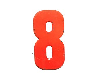 "7 1/2"" Vintage Metal Number 8 - Marquee Signage - Number Sign - Birthday Numbers - Vintage Metal 8 - Kid's Party Decor"