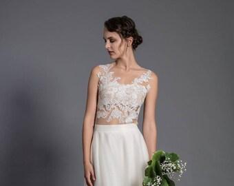 Lace wedding bodysuit - romantic lace blouse - tight fitting lace top - wedding bodysuit - bridal top - wedding separates