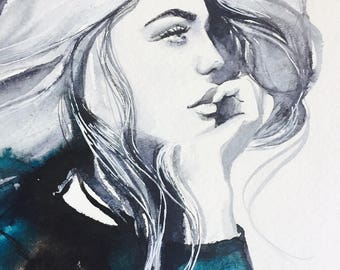 All About the Hair, Edgy Girl Giclee Art Print, Fashion Watercolor Painting, Woman, Black, White and Blue, Contemporary Interior Decor