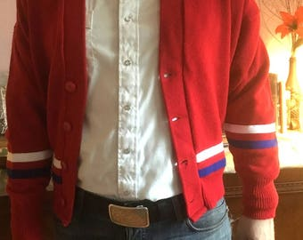 Vintage Red Varsity Sweater 1950s College Style Red White Blue All American Jumper