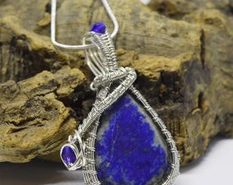 Lapis Lazuli wire wrapped cabochon pendant necklace