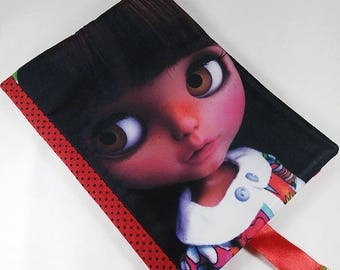 Fabric book cover - book sleeve, book case, Blythe Doll