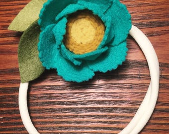 Teal/Mustard Felt Flower Headband