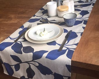 Grey and Blue Table Runner - floral runner