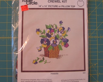 Vintage FAMILY CIRCLE #E401 Crewel Embroidery Kit - Pansies- Flowers Original Seled Package