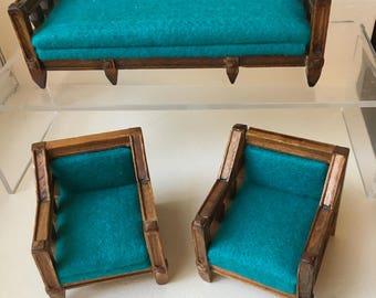 "Dollhouse Miniature Southwestern Sofa & Chairs  1"" Scale  (DC)"