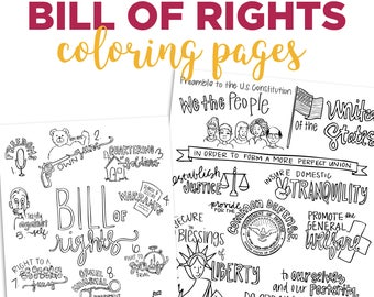 color the preamble and bill of rights - Bill Of Rights Coloring Pages