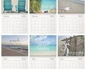 2018 Beach Calendar COASTAL QUOTES Seashore Seaside Island Ocean Home Office Planner Beach Cottage Life Photography Wall Calendar