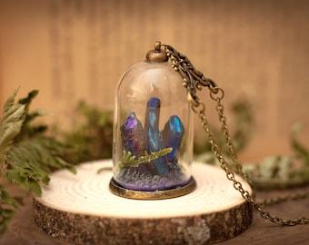 Aura Quartz Terrarium Necklace, Wish Necklace, Blue Quartz, Bottle Necklace, Terrarium Jewelry, Moss Terrarium, Christmas Gifts for her