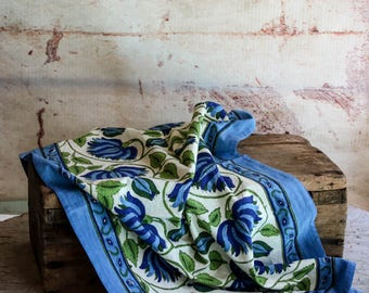 Blue and Cream Floral Mum Indian Block Print Cotton Tea Towel  Eco Friendly