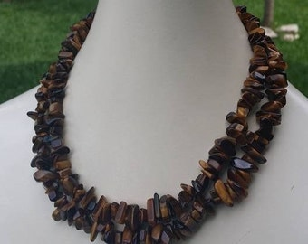 Natural brown stones long necklace