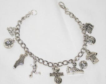 Soccer Charm Bracelet, I Love Soccer Bracelet, Soccer Bracelet, Soccer Jewelry, Soccer Player Gift, Soccer Coach Gift, Sports Jewelry