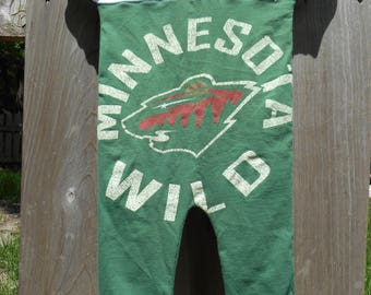 Minnesota Wild NHL Hockey Children's Upcycled/recycled t-shirt romper size 12 months