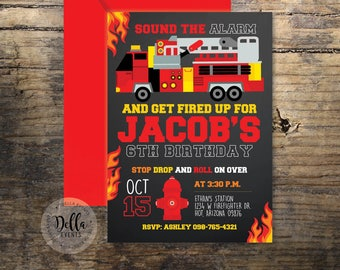 Firefighter Birthday Invitation, Firefighter Invitation, Firefighter Birthday Invite, Fire Truck, Firefighter Party, Fire Department