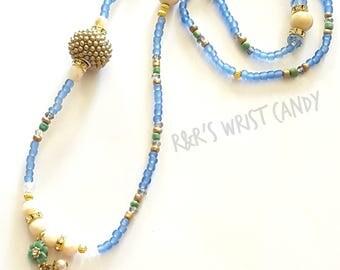 Beaded Blue Necklace, Flower Pendant Necklace, OOAK, Stretchy, Blue, Green , Beige, Custom Handmade Beaded Jewelry