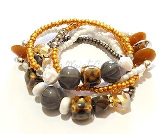Brown, Grey, White, Rose Gold, Beaded Bracelets, OOAK, Stretchy, Stack, Womens Jewelry, Custom Handmade Beaded Jewelry