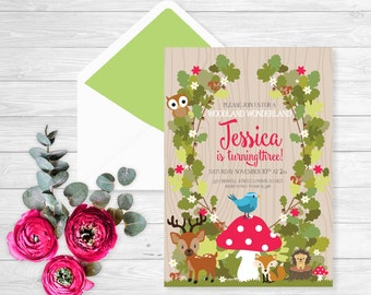 Forest friends party invitation   Forest Birthday Invitation   woodland invitation   woodland birthday   Woodland baby shower   printable