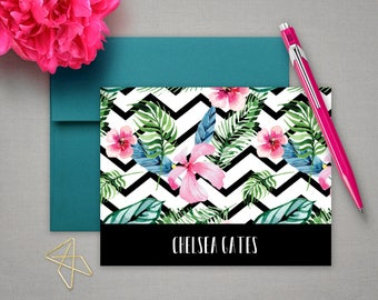 Personalized Stationery | Floral Stationary | Bespoke Note Cards | TROPICAL CHEVRON | Flower Notecards | Personalized Cards